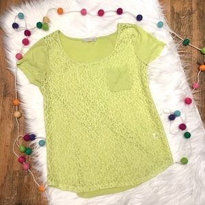 Lime green lace front short sleeve top